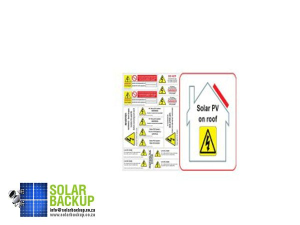 Solar Backup-PV on Roof and Hazard Labels Pack