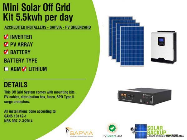 Solar Backup Mini Solar Off Grid kit 5.5kWh per day