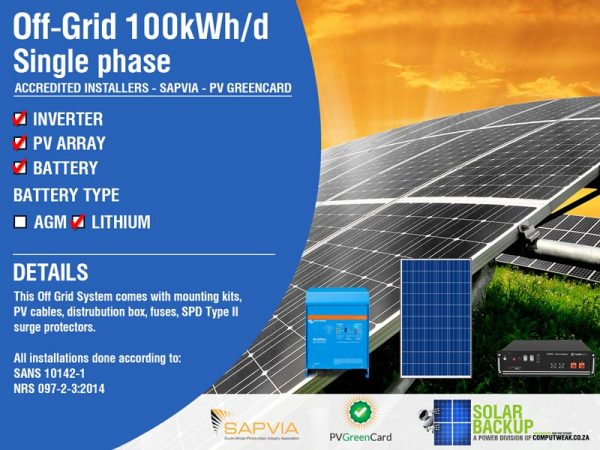 Solar Backup-Off Grid 100kWh per day Single Phase