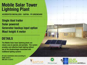 Mobile solar tower lightning plant
